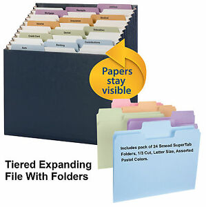 Smead Stadium File 70211 With Pack Of 24 Pastel Colored Folders Letter Size