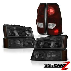 03 04 05 06 Chevy Silverado 2500hd Red Smoke Tail Brake Lights Dark Headlamps