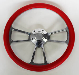 Blazer C10 C20 C30 Chevy Pick Up Steering Wheel Red And Billet 14 Bowtie Cap