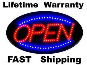 Oval Shaped Led Blue Red Open Sign Flashing Or Solid does Both With Switch