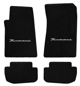 New 1961 1963 Black Floor Mats T bird Thunderbird With Script Logo Set Of 4
