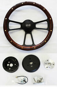 Nova Chevelle El Camino Steering Wheel Mahogany Wood Black Spokes 14 Ss Cap