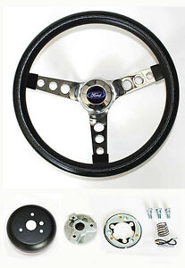 1985 1988 Ford Ranger Grant Black Chrome Steering Wheel 13 1 2 Style Horn Kit