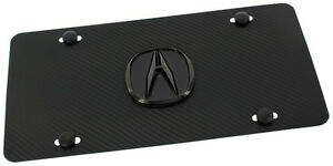 Acura Pearl Carbon Fiber Simulated Black Front License Plate Novelty Logo