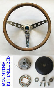 1966 Dodge Charger Grant Walnut Wood Steering Wheel 13 5 13 1 2 Chrome Spokes