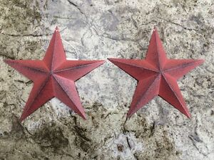 Set Of 2 Burgundy Black Barn Stars 8 Primitive Country Decor Free Shipping