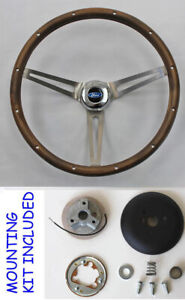 Torino Fairlane Ranchero Ltd Grant Wood Walnut Steering Wheel 15 Stainless