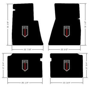 New Black Floor Mats 1962 1967 Chevy Ii 2 Embroidered Shield Logo On All 4