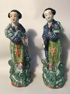 Pair Antique Chinese Famille Rose Porcelain Figurines Signed Marked