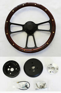 67 68 Pontiac Gto Firebird Steering Wheel Mahogany Wood Grip On Black Spokes 14