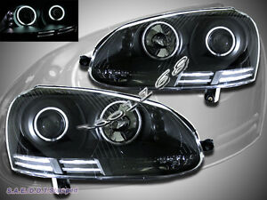 06 09 Vw Gti rabbit jetta Black Housing Ccfl Halo Led Projector Headlights