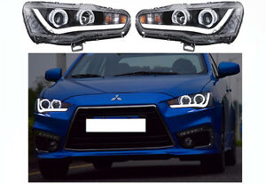 Led Headlights For Mitsubishi Lancer Evo X Drl Front Lamp Halo Projector 08 17