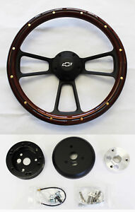 1968 Chevrolet Camaro Mahogany Wood Black Steering Wheel 14 Bowtie Center Cap
