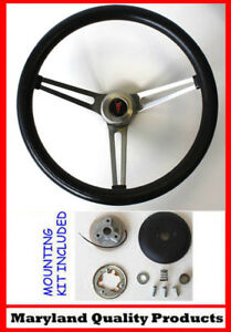 1964 66 Pontiac Gto Grant Black Steering Wheel 15 Slotted Stainless Spokes