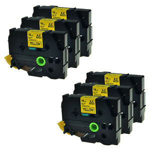 6pk Tz 641 Tze 641 18mm Black On Yellow Label Tape For Brother P touch Pt2200