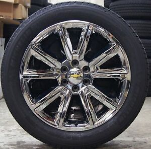 New Chevy Suburban Tahoe Chrome 22 Wheels Rims Michelin Defender Ltx Tires 5696