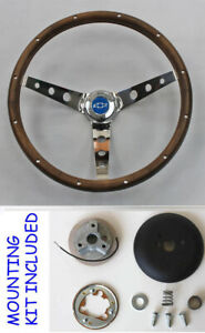 Monte Carlo Nova Grant Steering Wheel Walnut Blue Bowtie Center Cap 13 1 2