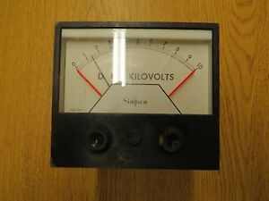 Simpson 0 10 D c Kilovolts Meter 4 1 2 X 4 1 8 Face Model 3324
