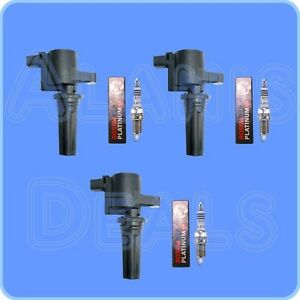 Set Of 3 Bosch Spark Plugs 3 Adp Ignition Coils For Lincoln Ls Jaguar S type