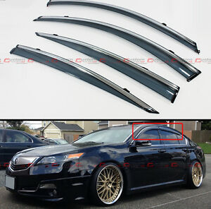 For 2009 2014 Acura Tl Clip On Smoke Tinted Side Window Visor W Chrome Trim