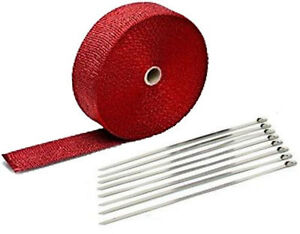 Red Header Exhaust Heat Wrap Manifold 2 Inch 2x50 Turbo Universal Racing Ties