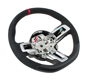 2015 2017 Mustang Shelby Gt350r Steering Wheel Suede Leather W Red Stitching