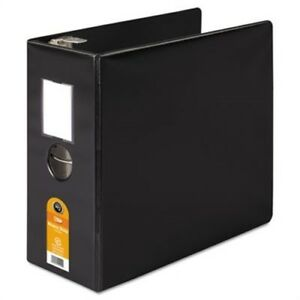 Heavy duty No gap D ring Binder With Label Holder 5 Capacity Black 2 Pack