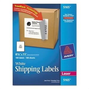 Shipping Labels With Trueblock Technology 8 1 2 X 11 White 100 box 2 Pack