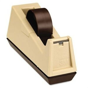 Heavy duty Weighted Desktop Tape Dispenser 3 Core Plastic Putty brown X2