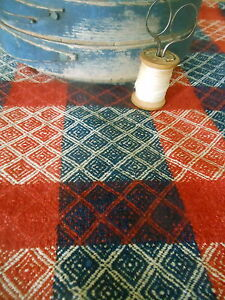 Antique Primitive 19thc Loomed Homespun Coverlet Pc Americana Red Indigo Blue