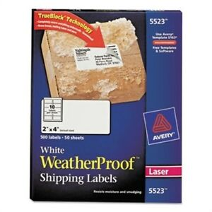 White Weatherproof Laser Shipping Labels 2 X 4 500 pack X 2