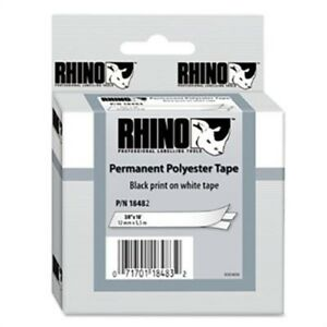 Rhino Permanent Poly Industrial Label Tape Cassette 3 8in X 18ft White X 2