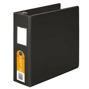 Heavy duty No gap D ring Binder With Label Holder 3 Capacity Black 2 Pack