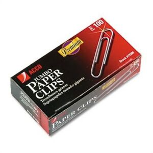 Smooth Finish Premium Paper Clips Wire Jumbo Silver 100 box 10 Boxes pack 2pk