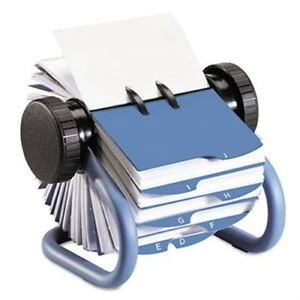 Colored Open Rotary Business Card File With 24 Guides Blue