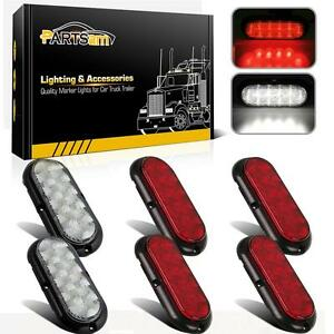 4xred 2xwhite 6 Oval 10 Led Stop turn tail Brake Reverse Light Flange Mount 12v