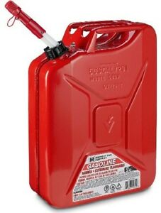 Midwest 5800 5 Gallon Red Metal Military Style Gasoline Fuel Gas Can W Spout