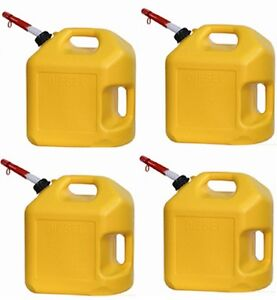 4 Ea Midwest 8600 5 Gallon Yellow Poly Diesel Fuel Can Containers W Spouts