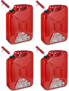 4 Ea Midwest 5800 5 Gallon Red Metal Military Style Gasoline Fuel Cans W Spout