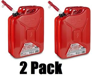 2 Ea Midwest 5800 5 Gallon Red Metal Military Style Gasoline Fuel Cans W Spout