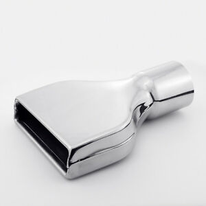 3 Inlet 10 Length Slanted Rectangle Rolled 304 Stainless Steel Exhaust Tip