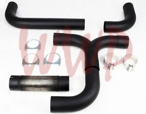 Stainless Steel Black 4 Universal T Pipe Kit Dual Smoker Exhaust Stack System