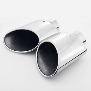 Pair 2 25 Inlet Rolled Slanted Angle Cut Oval 304 Stainless Steel Exhaust Tips