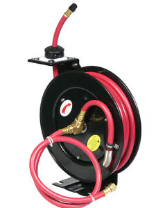 25ft X 3 8 Retractable Rubber Air Hose Reel 250 Psi