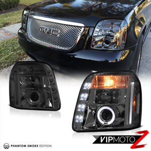 2007 2013 Gmc Yukon Denali Left Right Pair Smoke Halo Projector Headlight Lamps