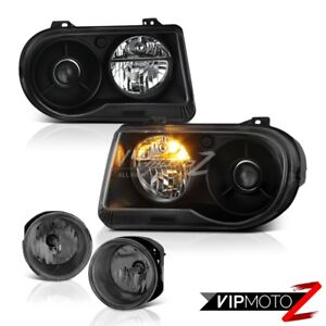 05 10 Chrysler 300c 5 7l Black New Left Right Replacement Headlight Bumper Fog
