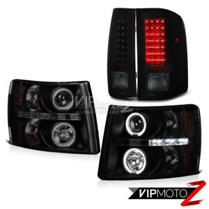 2007 2013 Chevy Silverado Sinister Black Halo Led Projector Headlight Tail Light