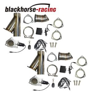 2x Universal Electric Exhaust 3 Inch Cutout Electric Cutout Kit Remote