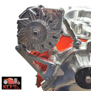 Sbc Polished Aluminum Alternator Bracket Long Water Pump Small Block Chevy 350