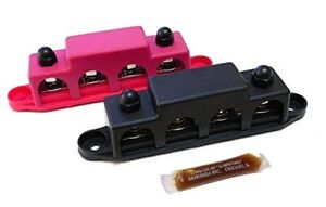 Pair Of Black 5 16 And Red 3 8 4 Post Busbars 250a 48vdc Fast Shipping